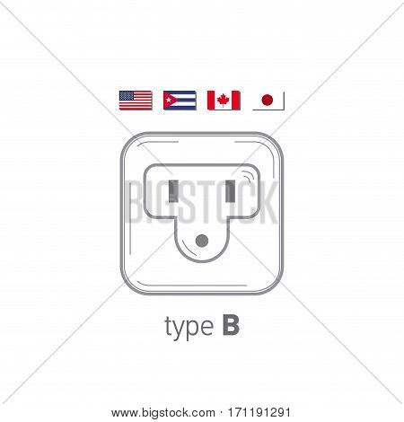 Sockets icon. Type B. AC power sockets realistic illustration. Different type power socket set, vector isolated icon illustration for different country plugs