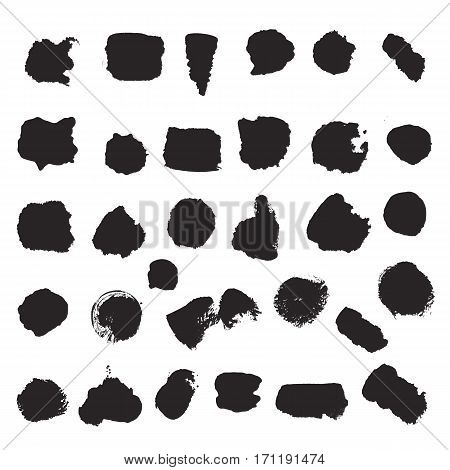 Set of black stripes and splashes on white background. Grunge ink blots and drops. High quality manually traced vector illustration