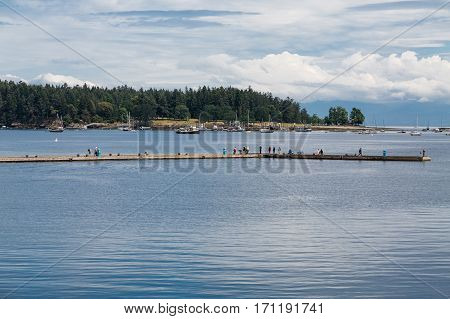 Many Tourists on a Seawall in Nanaimo