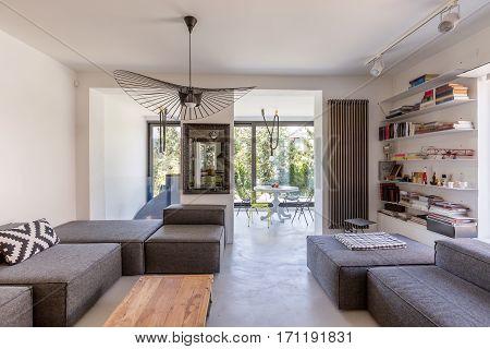 Modern Living Room Overlooking Veranda