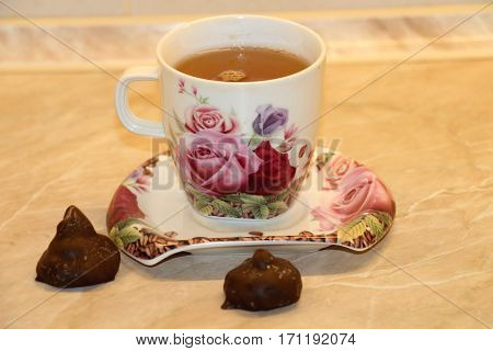 Tea with sweets. Green tea is very tasty,fragrant,hot. Nice to drink it with sweets.