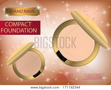 Glamorous compact foundation on the sparkling effects background. Mockup 3D Realistic Vector illustration for design template