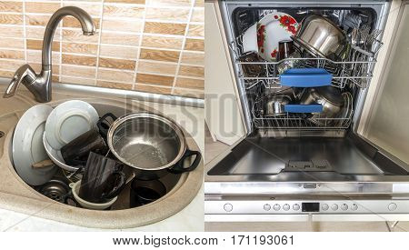 Dirty sink with kitchenware, utensil, dishes. Open dishwasher with clean dishes.