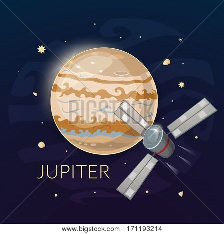 Planet Jupiter and spacecraft art, vector illustration
