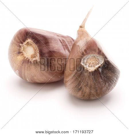 Two garlic cloves isolated on white background cutout