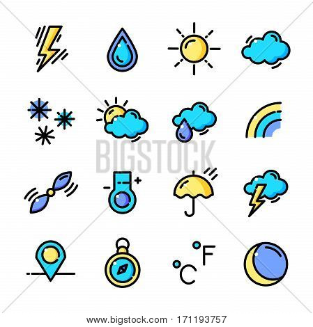 Thin line Weather Forecast icons set, Natural phenomena outline logos vector illustration