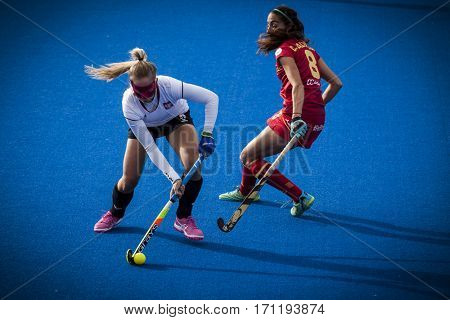 VALENCIA, SPAIN - FEBRUARY 12: (L) Wypijewska (R) Salvatella during Hockey World League Round 2 Final match between Spain and Poland at Betero Stadium on February 12, 2017 in Valencia, Spain