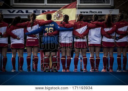 VALENCIA, SPAIN - FEBRUARY 12: Spanish players during Hockey World League Round 2 Final match between Spain and Poland at Betero Stadium on February 12, 2017 in Valencia, Spain