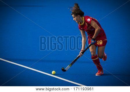 VALENCIA, SPAIN - FEBRUARY 12: Lucia Jimenez during Hockey World League Round 2 Final match between Spain and Poland at Betero Stadium on February 12, 2017 in Valencia, Spain