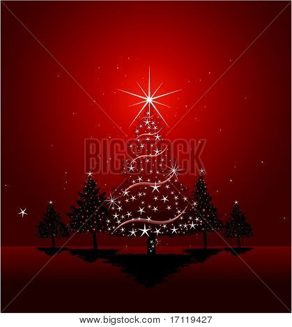 Red Christmas tree background