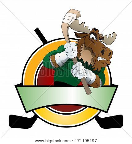 illustration of a big brown moose playing hockey ice infront plate shield for logo
