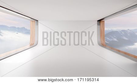 Futuristic Empty Room With Big Windows And Mountain Landscape