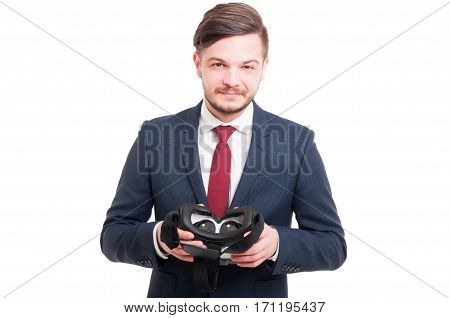 Friendly Businessman  Testing Virtual Reality Glasses