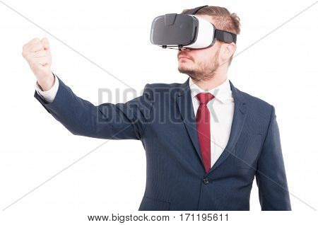 Male Manager Enjoying His Trip To Virtual Reality