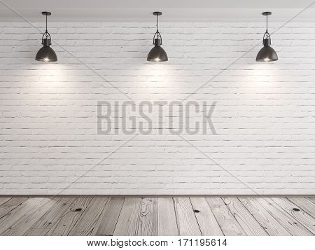 Brick Wall Room With Hanging Lamps And Wood Floor
