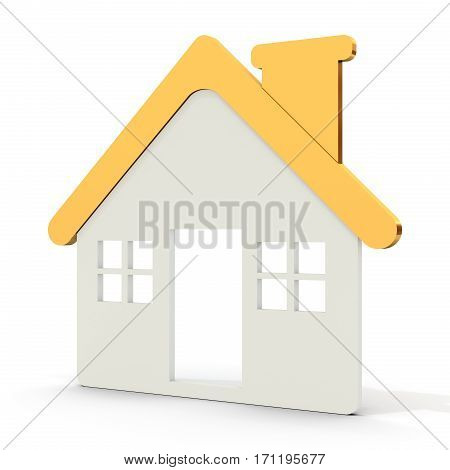 House Shape Icon With Golden Roof