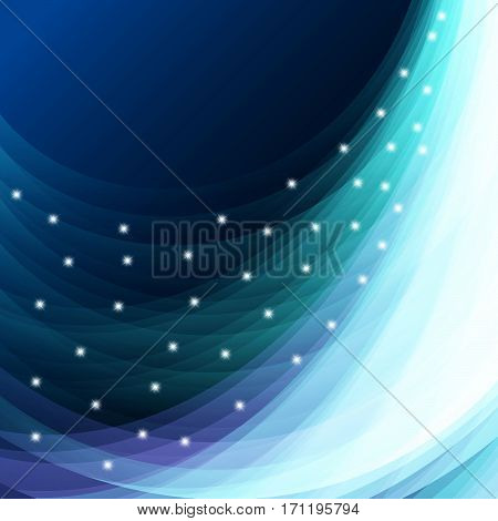 Beautiful blue vector light effect of neon glow and flash. Abstraction backgroun with flying design elements.