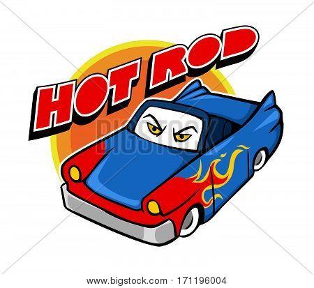 Vector cartoon illustration of hot rod car