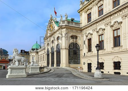 Palace Upper Belvedere built in the eighteenth century in the Baroque style in Vienna, Austria.