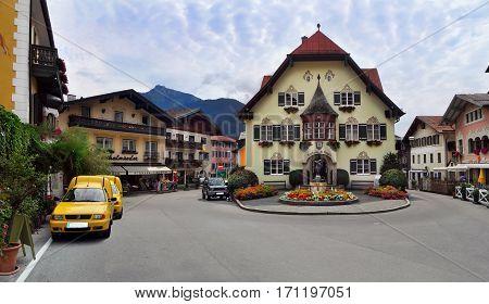 SANKT GILGEN/ AUSTRIA - JULY 7, 2010: Picturesque alpine village Sankt Gilgen on July 7, 2019. Austria