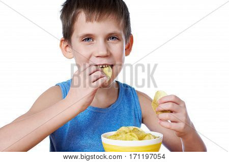 Little Boy Eating Potato Chips Isolated