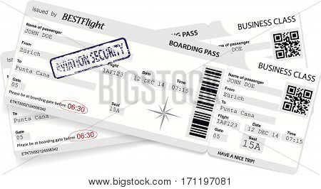 Grey vector template of boarding pass ticket. Concept of trip, journey or travel