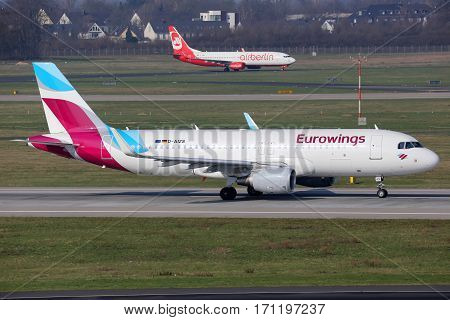 Eurowings And Air Berlin Airplanes Dusseldorf Airport