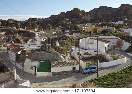 View of small Andalucian town Guadix, Andalucia