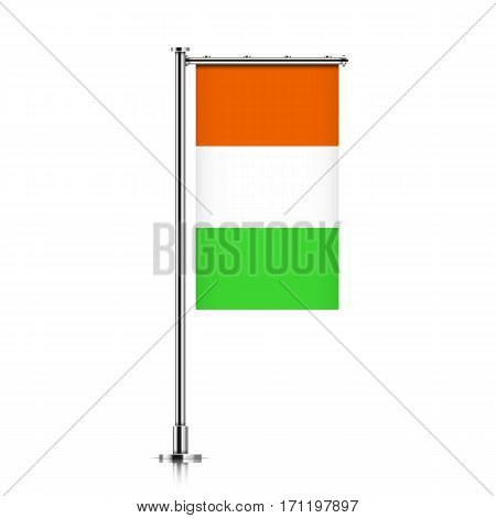 Cote d'ivoire vector banner flag hanging on a silver metallic pole. Cote d'ivoire vertical flag template isolated on a white background.
