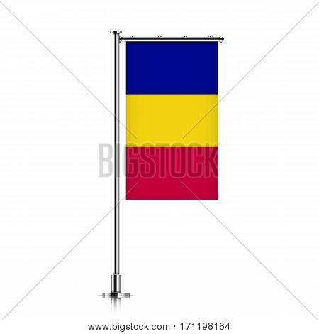 Chad vector banner flag hanging on a silver metallic pole. Chad vertical flag template isolated on a white background.