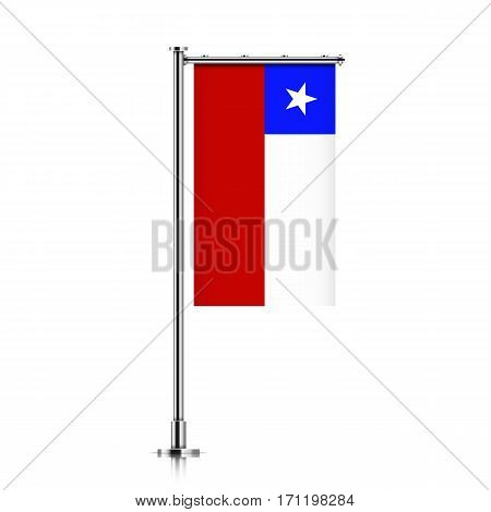 Chile vector banner flag hanging on a silver metallic pole. Chile vertical flag template isolated on a white background.