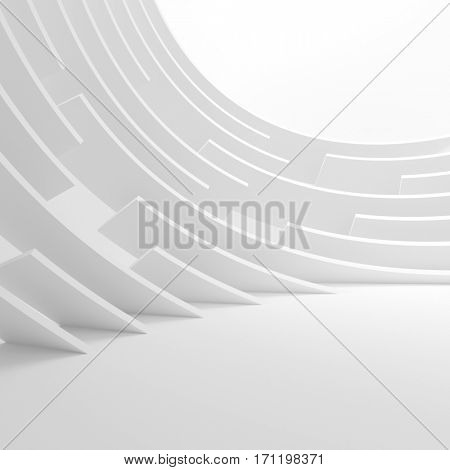 Abstract Architecture Background. 3d Illustration of White Circular Building. Creative Modern Industrial Concept