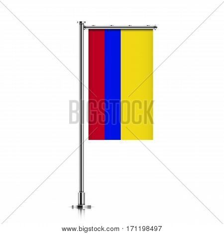 Colombia vector banner flag hanging on a silver metallic pole. Colombia vertical flag template isolated on a white background.