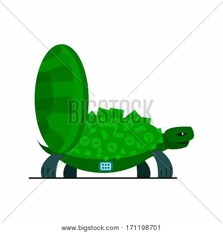 Cute turtle with money, turtle safe icon isolated on a white background