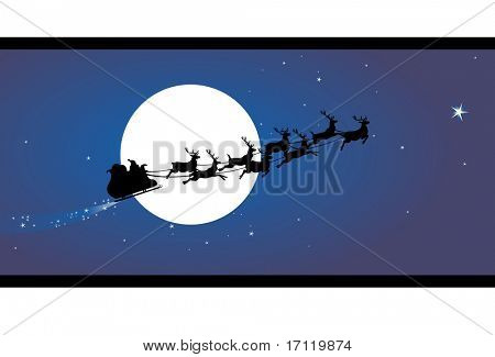 Santa claus sleigh in the sky