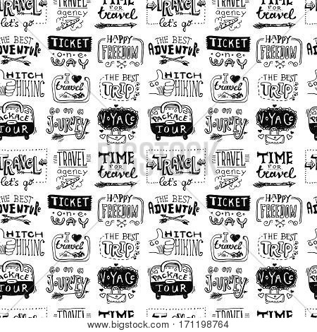 Hand drawn trawel lettering. Drawing by hand. Typography illustration. Seamless pattern.