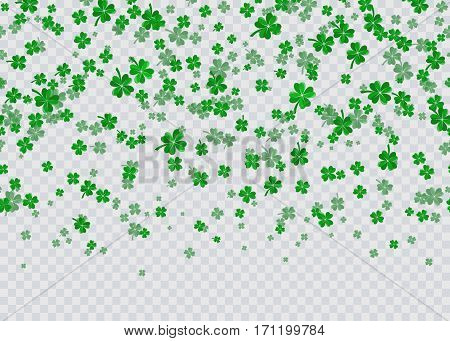Vector illustration of floral seamless border background with four leaved green clover for saint Patricks day greeting isolated on transparent background