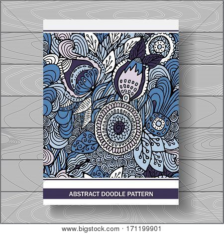 stock vector doodle floral poster. hand draw pattern.