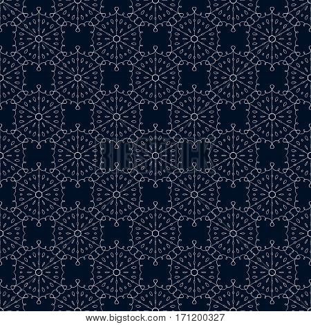 Intricate flourish background. Seamless lace snowflakes pattern. Vector