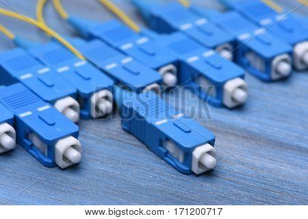 Closeup of Fiber Optical Cables Plug Type SC