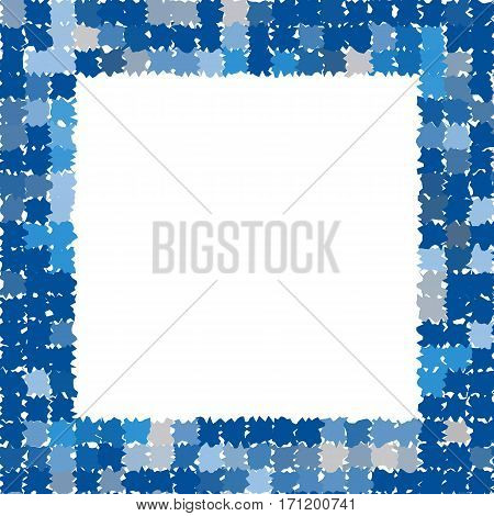 Abstract frame with rough jagged edges. Photo frame in different shades of blue and gray. Place for text. Vector