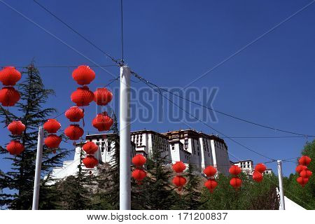 Red paper Chinese lanterns at the Potala Palace in Lhasa.