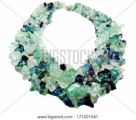 fluorite gemstone beads isolated on white background