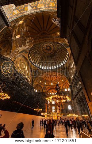 Istanbul, Turkey - April 07, 2013: Hagia Sophia interior at Istanbul Turkey - architecture background