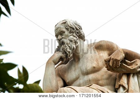 Statue of ancient Greek philosopher Socrates in Athens.