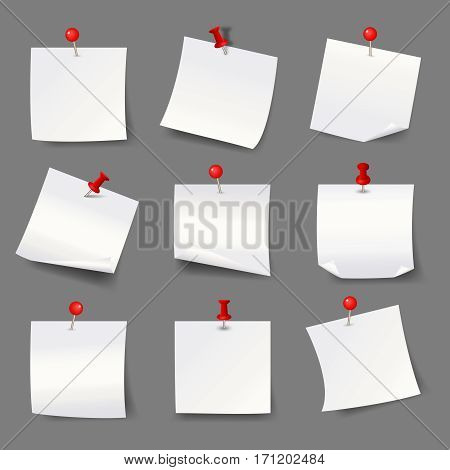White note papers with thumbtacks. Blank paper notices with red push pins vector illustration. Pushpin for office memo message