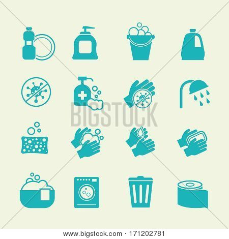 Hygiene and cleaning icons. Washing antiseptic, personal and home care vector signs. Wash hand and cleaning house illustration