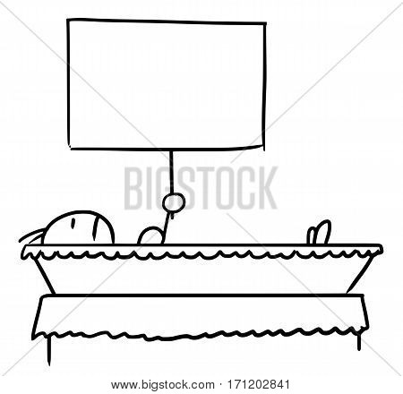 Cartoon vector doodle dead stickman lying in the casket and holding empty sign for your text