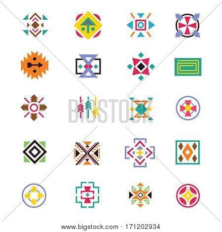 Aztec ethnicity style signs. American indian navajo art vector patterns. Collection of symbols mexican aztec illustration