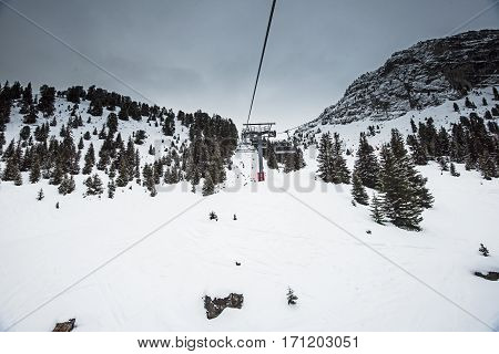 Panoramic View Up A Mountain Valley With Chairlift